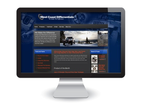 Web Design: West Coast Differentials, Home Page