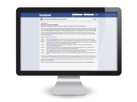 Facebook Page Design: The Seven Levels of Healing Info Tab